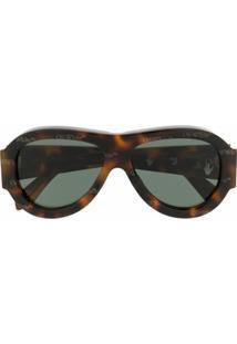 Off-White Óculos De Sol Oversized - Marrom