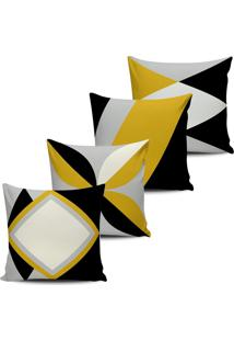 Kit 4 Capas Almofadas Abstrata Decoraçáo Amarela 45X45Cm - Tricae