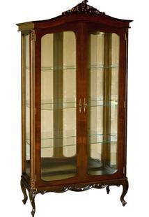 Cristaleira Forli Vitrine 2 Portas Personalizado Madeira Maciça Com Entalhes Design Clássico