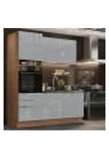 Cozinha Compacta Madesa Lux Com Armário E Balcão 5 Portas 3 Gavetas - Rustic/Cinza