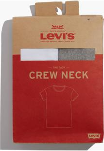 Camiseta Levis Masculino Pack Crew Cinza E Branca