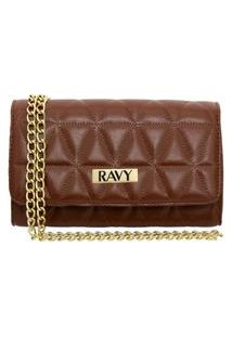 Bolsa Clutch Ravy Store Pequena Metalassê Marrom