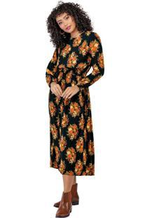 Vestido Midi Viscose Floral Preto