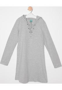 Vestido Em Moletom Com Amarração- Cinza- Malweemalwee