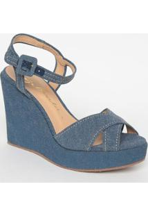 Sandã¡Lia Anabela Jeans - Azul- Salto: 10,5Cm - Lluiza Barcelos
