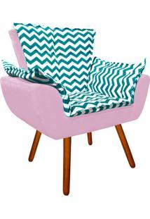 Poltrona Decorativa Opala Suede Composê Estampado Zig Zag Verde Tiffany D78 E Suede Rosa Bebê - D'Rossi