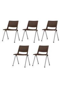 Kit 5 Cadeiras Up Assento Marrom Base Fixa Cinza - 57826 Marrom