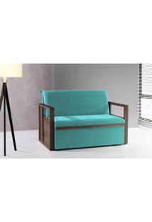 Sofá Cama Compacto Para Casal Akropi - Sofá Bicama Estofado Verniz Castanho Tecido Azul Turquesa - 128X90X85Cm