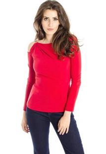 Blusa Vazada Ombros Alphorria Feminina - Feminino-Vermelho