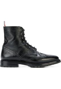 Thom Browne Bota 'Pebble Grain Wingtip' De Couro - Preto