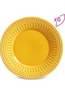 Jogo De Pratos Para Sobremesa Pérgamo- Amarelo Escuro