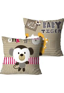 Kit 2 Capas Para Almofadas Decorativas Baby Tiger And Monkey 35X35Cm