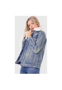 Jaqueta Jeans Colcci Destroyed Azul