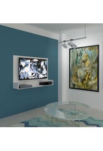 Painel Para Tv 1.3 Picasso Branco Com Prateleira E Suporte Multivisão