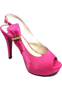 7acc8a677 ... Peep Top Cia Do Porto Salto Alto Fino Cetim - Feminino-Pink