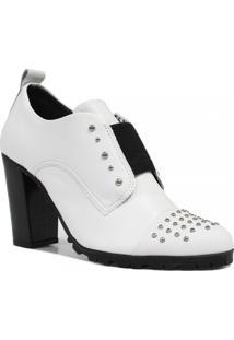 Sapato Cravo E Canela Oxford Salto Metais Branco