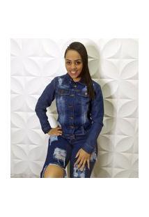 Jaqueta Jeans Destroyed Escura Com Bolso