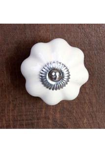 Puxador De Porta Em Cerâmica Branca 7X5Cm