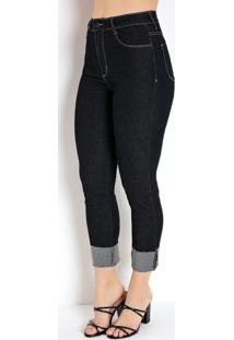Calça Jeans Escura Cropped Com Bolsos Sawary
