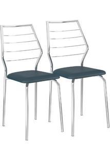 Cadeira 1716 02 Unidades Azul Noturno/Cromada Carraro