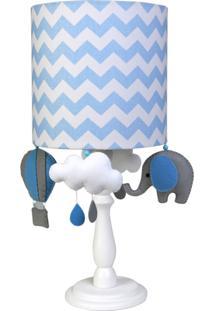 Abajur Madeira Elefante Balão Bebê Infantil Menino Potinho De Mel Azul - Kanui