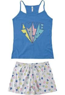 Pijama Feminino Curto Malwee 1000073425 00101-Azul
