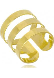 Anel Falange Listras Regulável Di Capri Semi Jóias X Ouro Dourado