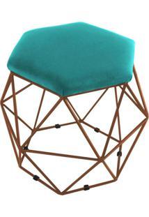 Puff Aramado Bronze Assento Hexagonal Suede Azul Tiffany - Ds Móveis - Tricae