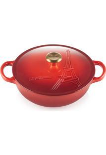 Panela Marmita Gourmet Torre Eifel Pegador Gold 22 Cm Vermelho Le Creuset