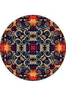 Tapete Love Decor Redondo Wevans Geometric Oriental Multicolorido 84Cm