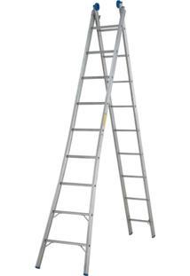 Escada Extensível 2X9 18 Degraus - Unissex-Prata