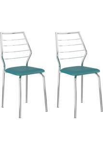 Conjunto 2 Cadeiras 1716 Casual Napa Turquesa Cromado