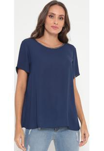 Blusa Lisa Com Corrente- Azul Marinho- Lança Perfumelança Perfume