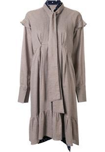 Maison Mihara Yasuhiro Vestido Com Laço Na Gola - Marrom