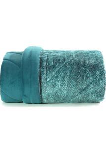 Edredom Solteiro Altenburg Blend Fashion Plush Signa- Verde Azul