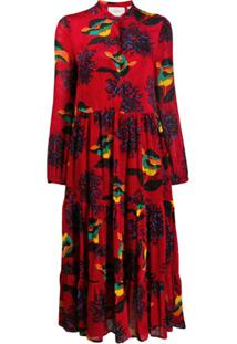 La Doublej Vestido Boho Estampado - Vermelho