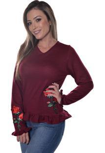 Blusa Carbella Manga Comprida Rosa Estampada Bordo