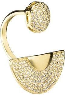 Anel Banho De Ouro Meia Lua Com Zirconias - Feminino-Dourado