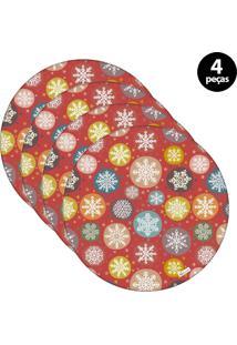 Capa Para Sousplat Mdecore Natal Flocos De Neve Vermelho 4Pçs