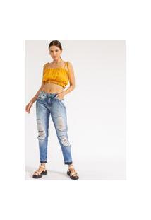 Calça Boyfriend Destroyed Rasgada La Lima-38 Jeans