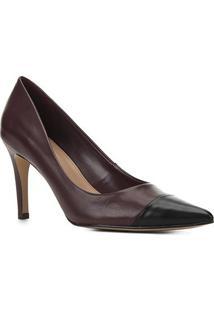 Scarpin Couro Shoestock Bico Fino Salto Alto - Feminino-Preto+Vinho