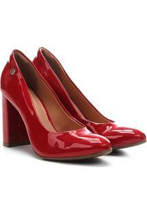 Scarpin Via Uno Salto Alto Bico Redondo Verniz - Feminino-Vermelho