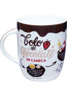 Caneca Receita 410Ml - Dolce Home - Branco / Marrom