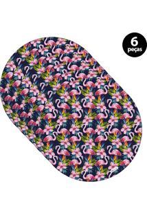 Sousplat Mdecore Flamingo 32X32Cm Azul Marinho 6Pçs