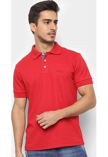 Camisa Polo Wrangler Manga Curta Básica Masculina - Masculino-Vermelho