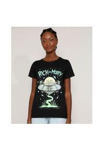 Camiseta Feminina Manga Curta Rick And Morty Decote Redondo Preta