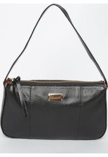 Bolsa Em Couro Texturizado Com Recortes- Preta- 15X2Di Marlys