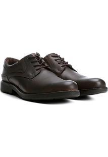Sapato Social Couro Walkabout Escovado Masculino - Masculino-Marrom Escuro