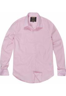 Camisa Khelf Slim Com Elastano Rosa Claro