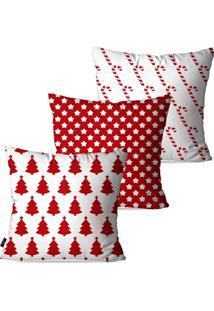 Kit Com 3 Capas Para Almofadas Pump Up Decorativas Natalinas Pinheiro Estrela E Bengala De Natal 45X45Cm
